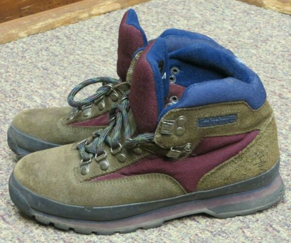 TIMBERLAND WINTER BOOT EURO HIKER BOOT BROWN LEATHER LACED RUBBER WOMEN 9M EUC $17.00