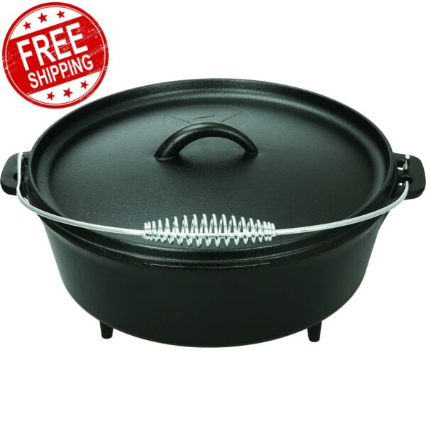 NEW 5 quart Dutch Oven Lid Pre Seasoned Cast Iron Pot Bake Fry Stew Top Quality