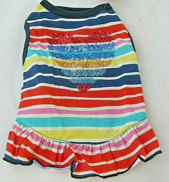 Top Paw Size Small Dog Striped Dress Sequin Heart Ruffle NWT Blue Yellow Pink $8.00