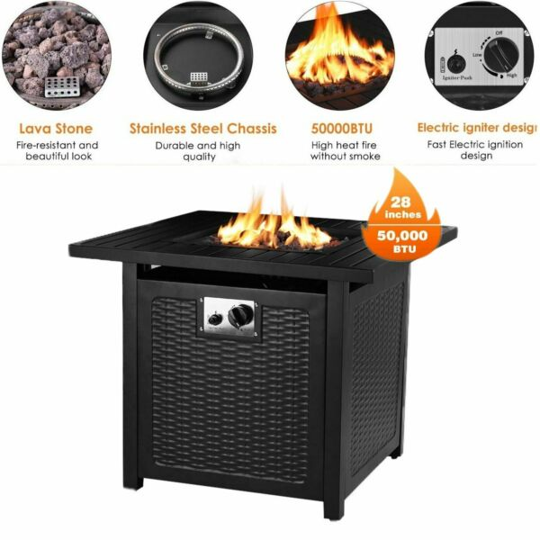 28quot; Propane Gas Fire Pit Table 50000 BTU Outdoor Courtyard Heater Patio w Cover