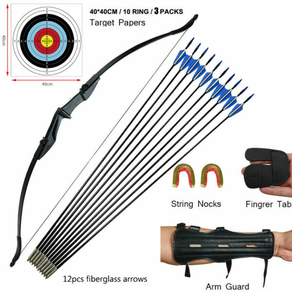 40lb Archery 57quot; Takedown Recurve Bow Kit Adult Practice Target Left Right Hand