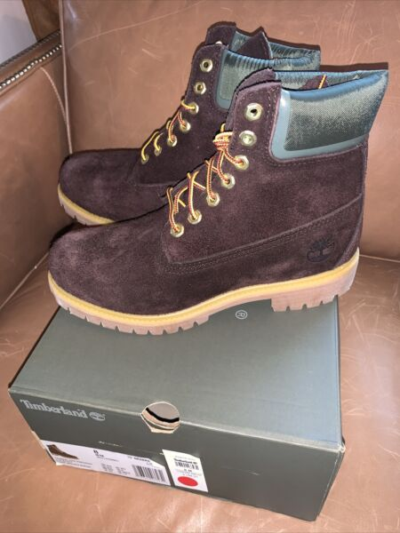 NIB Mens's Timberland Boot Premium 6in Dark Brown Suede A28X5 $99.00