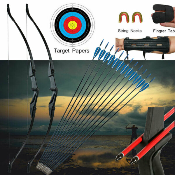 57in Takedown Recurve Bow Kit Hunting amp;12x Arrows Set Archery Right Left Hand US