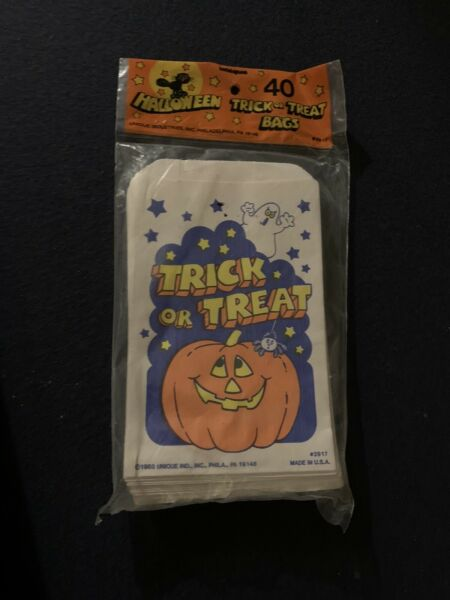 Vintage 1988 Unopened Pack Lot Of 40 Unique Halloween Trick Or Treat Candy Bags $11.99