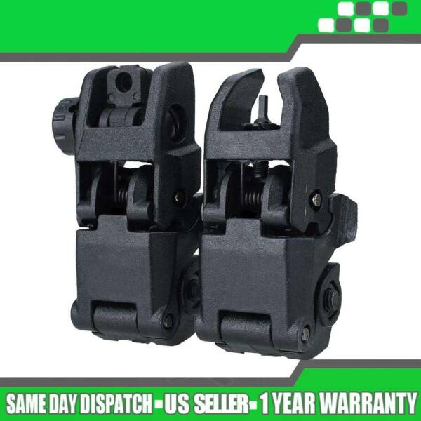1Pair Tactical Flip Up Folding BackUp Front Rear 20mm Sight Set Offset Rapid $10.39