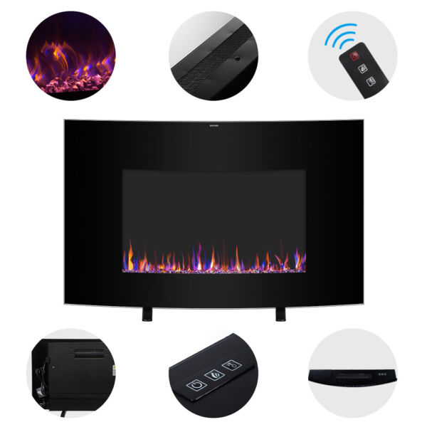 35quot; 1400W Cambrio Wall Hanging Fireplace amp;Small Remote Control Heating Wire US