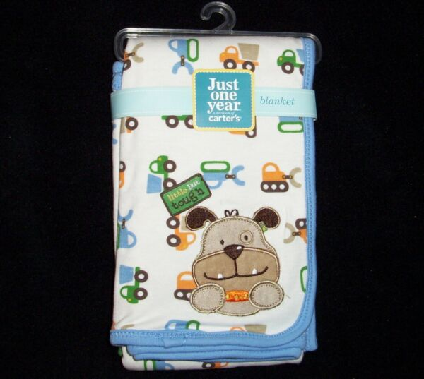NEW Carters Just One Year Baby Blanket Little but Tough Dog Tractor Blue Green $43.99