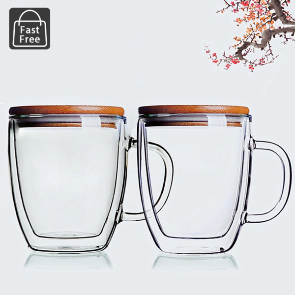 Double Wall Strong Glass Coffee Mugs Tea Cups Set of 2 14oz with Wood Lids $25.98