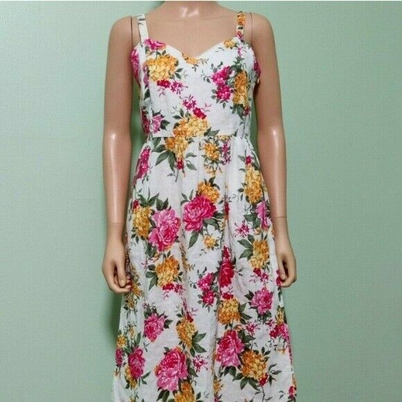 Cynthia Rowley Linen Fit and Flare Floral Dress $49.00