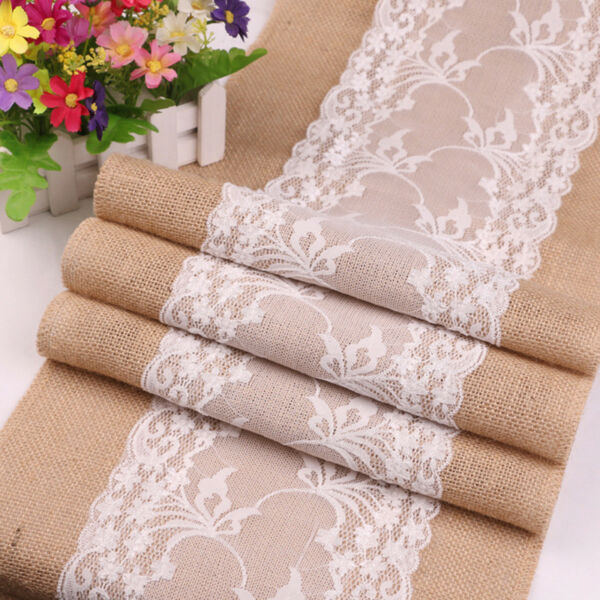 Lace Burlap Hessian Rustic Table Runner Tablecloth Wedding Party Table Decor LS