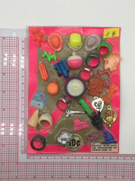 Plastic Toy and Charm Assortment Gumball Vintage Vending Display Card CD012 $27.50
