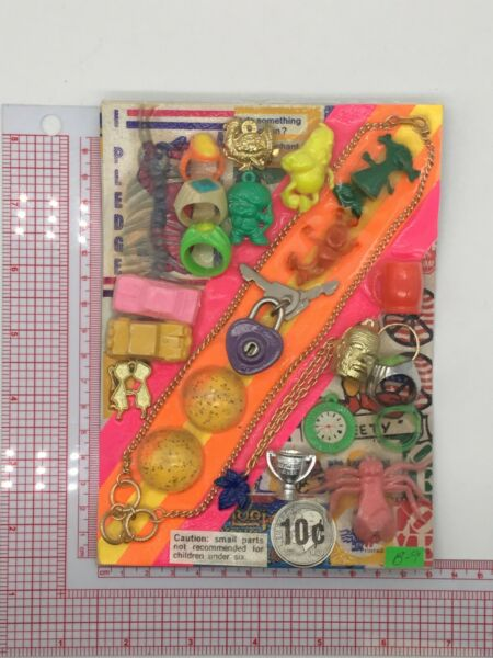 Plastic Toy and Charm Assortment Gumball Vintage Vending Display Card CD015 $27.50