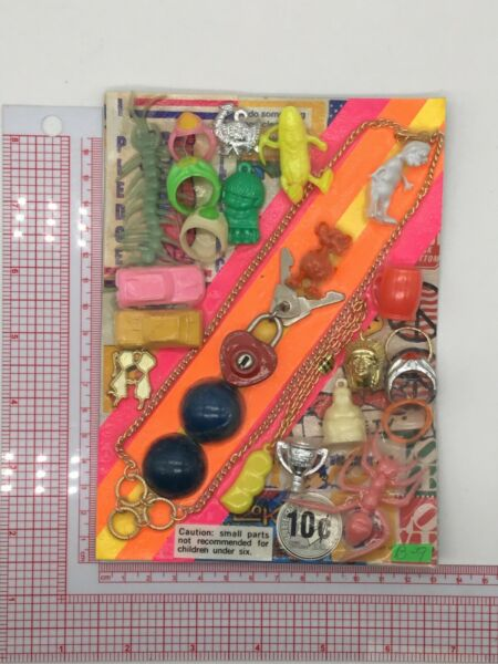 Plastic Toy and Charm Assortment Gumball Vintage Vending Display Card CD018 $27.50