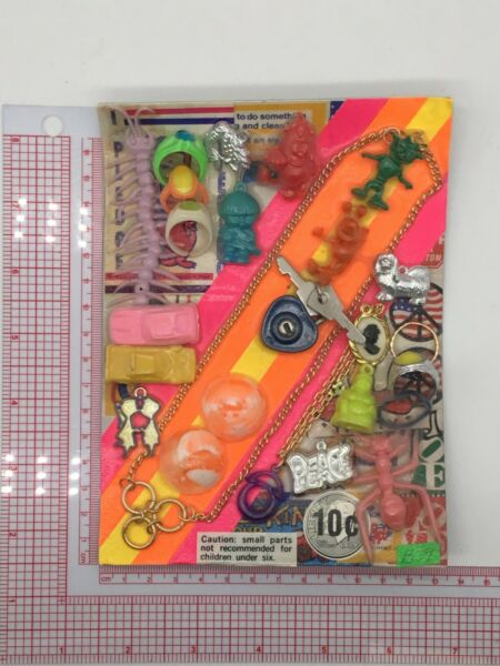 Plastic Toy and Charm Assortment Gumball Vintage Vending Display Card CD021 $27.50