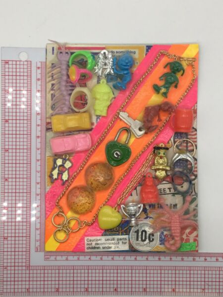 Plastic Toy and Charm Assortment Gumball Vintage Vending Display Card CD029 $27.50