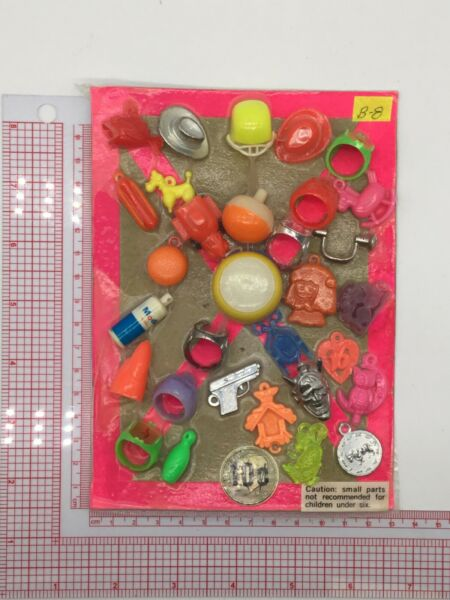 Plastic Toy and Charm Assortment Gumball Vintage Vending Display Card CD036 $27.50