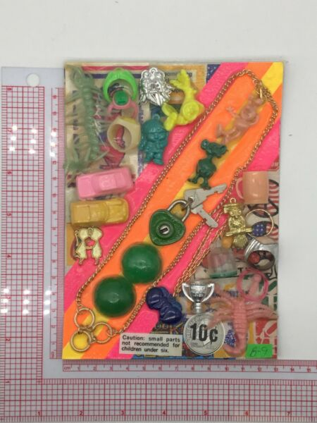 Plastic Toy and Charm Assortment Gumball Vintage Vending Display Card CD0310 $27.50