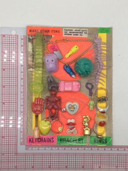 Plastic Toy and Charm Assortment Gumball Vintage Vending Display Card CD52 $29.99