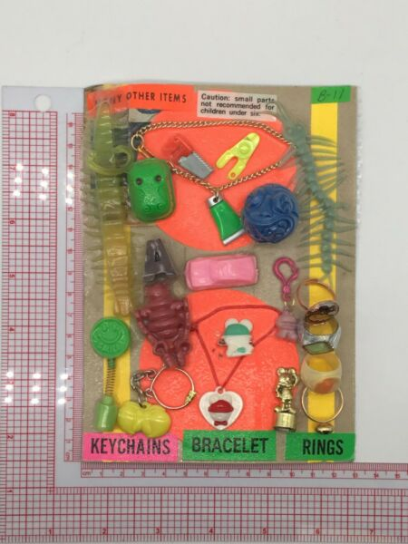 Plastic Toy and Charm Assortment Gumball Vintage Vending Display Card CD53 $29.99