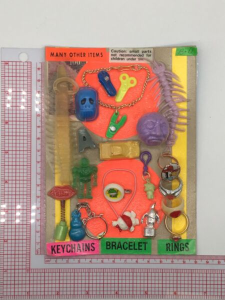 Plastic Toy and Charm Assortment Gumball Vintage Vending Display Card CD54 $29.99
