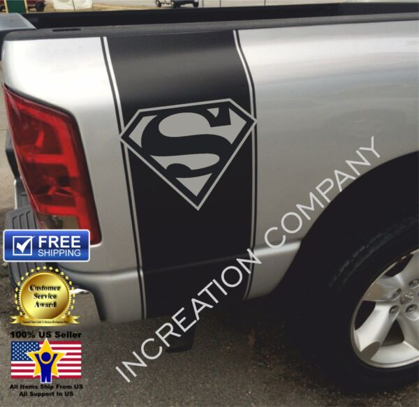 Any Truck Stripes Superman Vinyl Graphics Rear Bed Decals x2 Racing Stickers