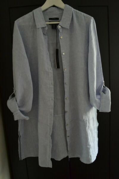 Tahari Chic Linen Top Blouse Long Tunic Shirt Button Blue Plus Size 1X
