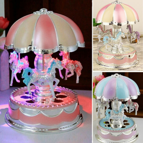 Carousel Music Box Color Change LED Luminous Light 3 horse Rotating Windup