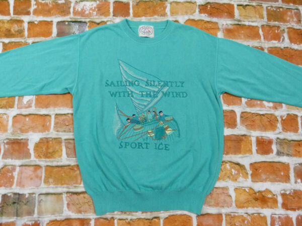 Sports Ice Iceberg Vintage Pullover Sailing Silently Turquoise Boat Size: L Mint $149.73
