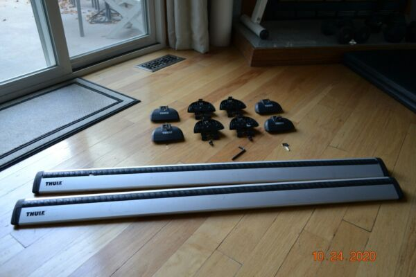 Thule ARB43 AeroBlade Silver Load Bars 43quot; pair with FOOT PACK LOCKS KEYS $250.00