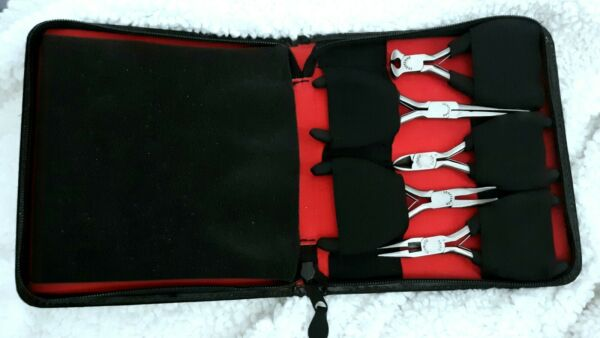 NEW Craftsman Professional 5 pc Mini Pliers Set in Leather Travel Case 45671