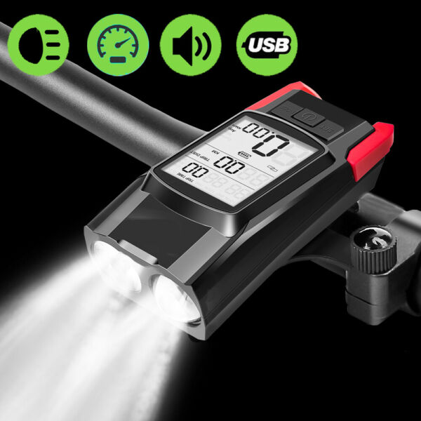 Bicycle Lights 3 in 1 Flashlight for Bike LED Bicycle Computer Horn Front Light $30.87