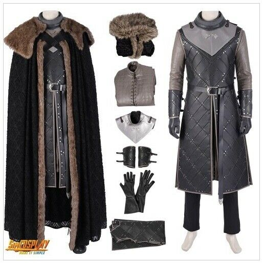 New Game of Thrones John Snow Season 8 Cosplay Costume And Wig