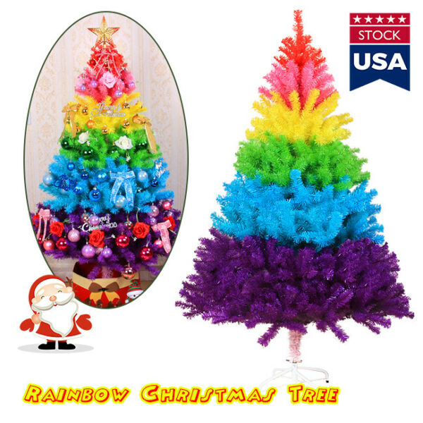 US Artificial Colorful Rainbow Christmas Tree Festival Decorations Xmas Tree