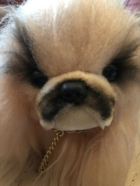 VINTAGE RARE JESTIA MOHAIR PEKINGESE STRAW FiLLED SHAGGY DOG MADE IN JAPAN $77.70
