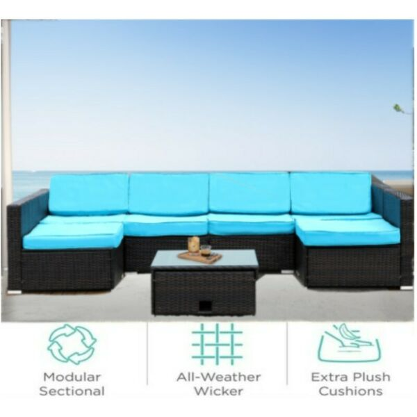 7 PCS Patio Rattan Wicker Sofa Set Cushioned Sectional Combination Couch Balcony $449.99
