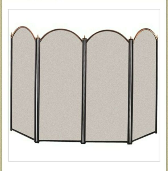 Panacea 15106 4 Panel Fireplace Screen Antique Brass and Black