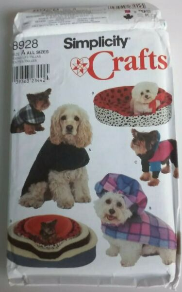 Simplicity Crafts 8928 Dog Sewing Pattern Coat Dog Bed Covers S M L Sizes $9.99