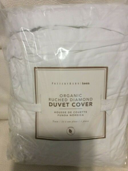 Pottery Barn Teen Organic Ruched Diamond Twin Duvet White NWT $59.95