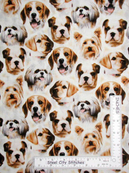 Puppy Dog Dogs Pet Faces Boxer Labrador Cotton Fabric VIP Exclusive By The Yard $10.93