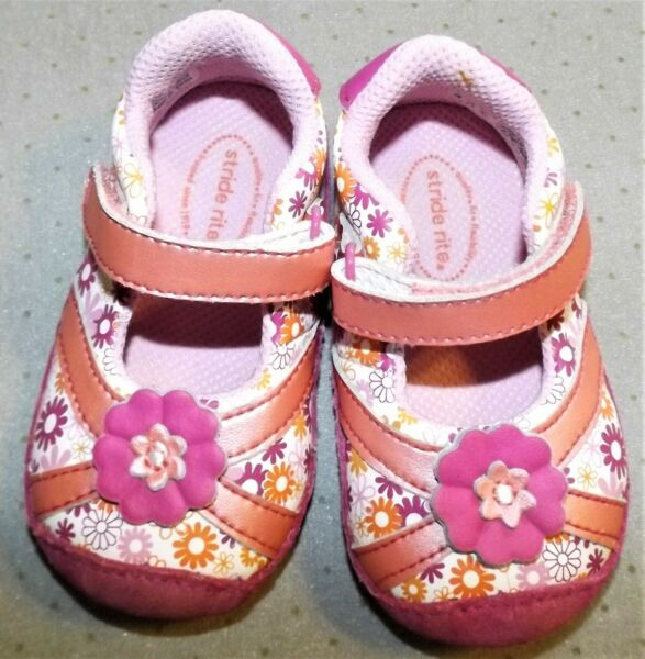 Stride Rite 3M girls pink orange floral hook amp; loop closure Mary Janes EUC $18.99