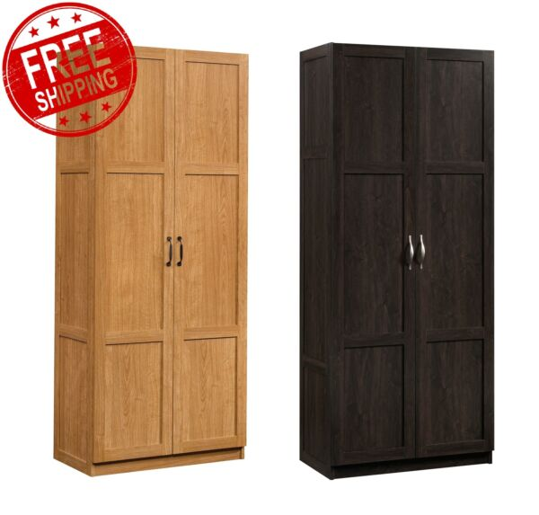 Wood Storage Cabinet Pantry Laundry Closet Organizer Utility Shelves Doors NEW
