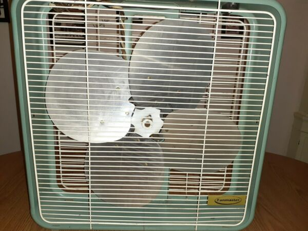 Vintage Fan master metal box fan 20quot; 2 speed reversible with thermostat works