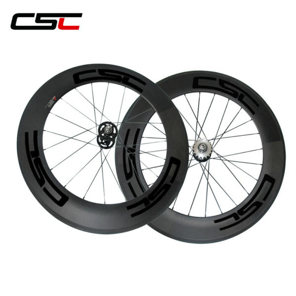 88mm Bike Track Wheels Clincher Fixed Gear Bicycle Carbon Wheelset 700C 3K Matte $394.40