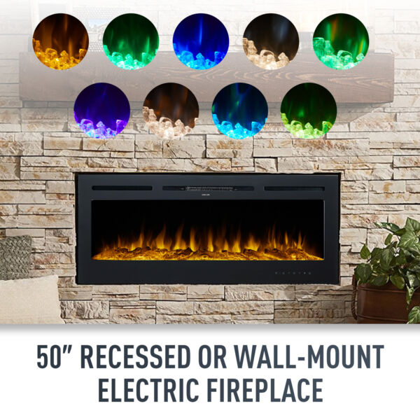 50quot; Electric Heater Recessed Wall Mounted Fireplace Insert with Remote Control