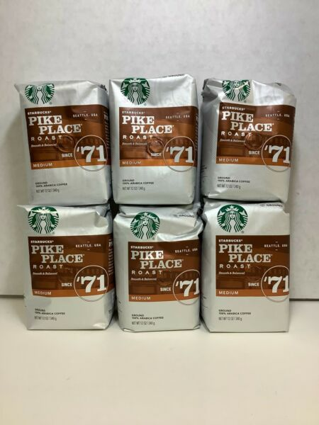 Starbucks Pike Place Medium Roast Ground Coffee 6 bags 4.5 Lbs. Total 11 2020