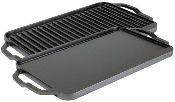 Lodge Chef Collection 19.5 x 10 Inch Cast Iron Reversible Grill Griddle