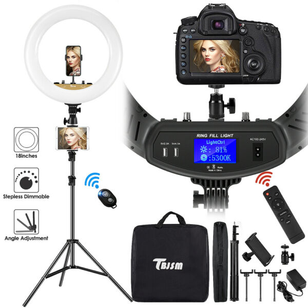 18quot; LED Ring Light Kit with Stand Dimmable 6000K For Makeup Phone Camera Youtube