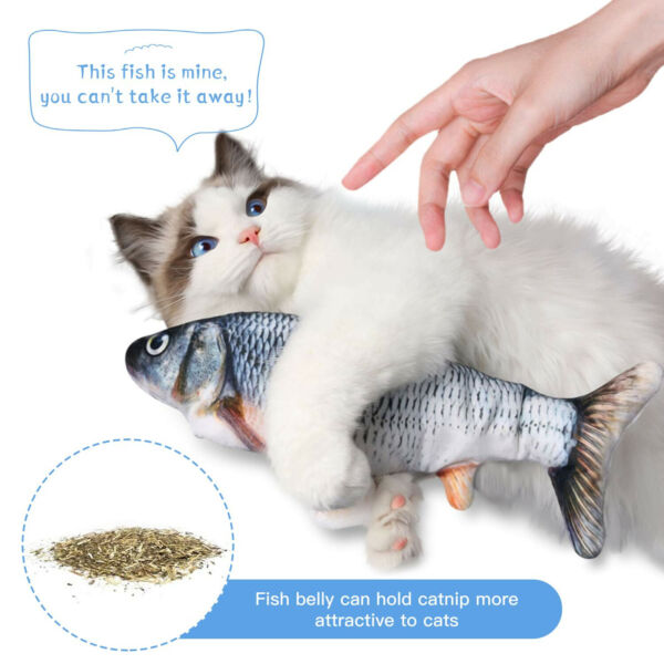 Cat Interactive Toys Flippity Fish Toy Electric Realistic Flopping Fish amp; Catnip $12.97