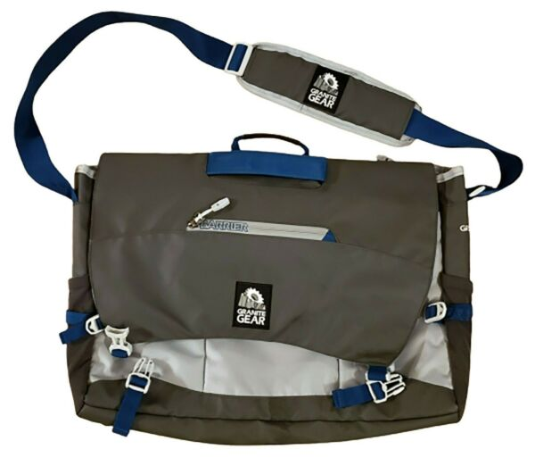 NEW GRANITE GEAR 17quot; Laptop Messenger Bag Charcoal Gray Blue Crossbody Tote Book $29.74