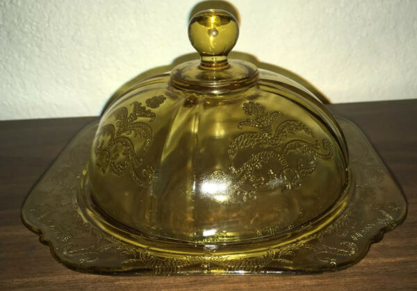 Vintage Federal Amber Madrid Pattern Depression Glass Covered Butter Dish EUC
